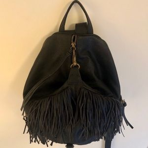 Fringe Pleather Backpack Purse